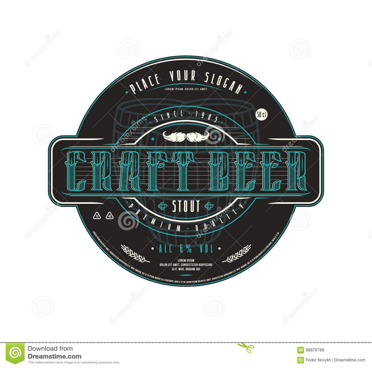 Craft Beer Label Template In Vintage Style Stock Vector Regarding Craft Label Templates