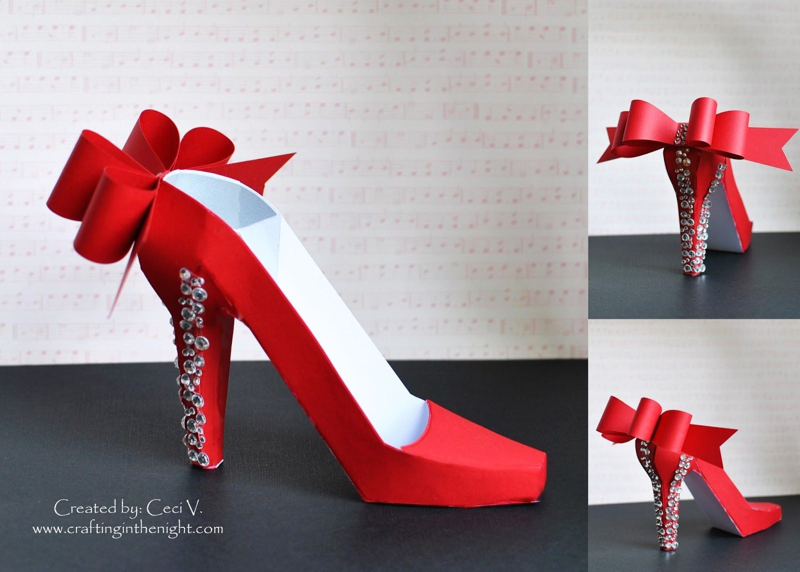 Crafting In The Night D High Heel Shoe  Svgcuts  D Projects With High Heel Shoe Template For Card