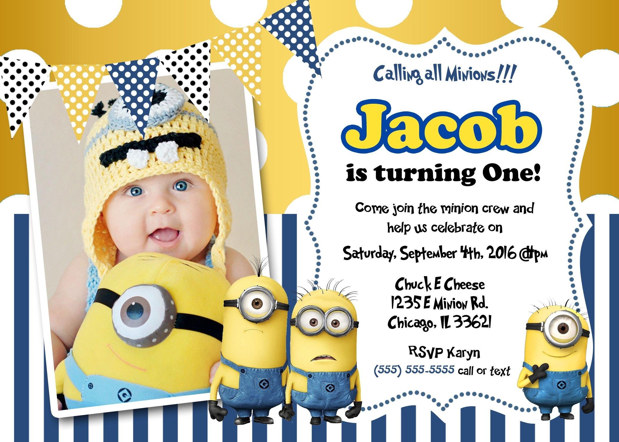 Create Own Minion Birthday Invitations Modern Templates  Rhett's Within Minion Card Template