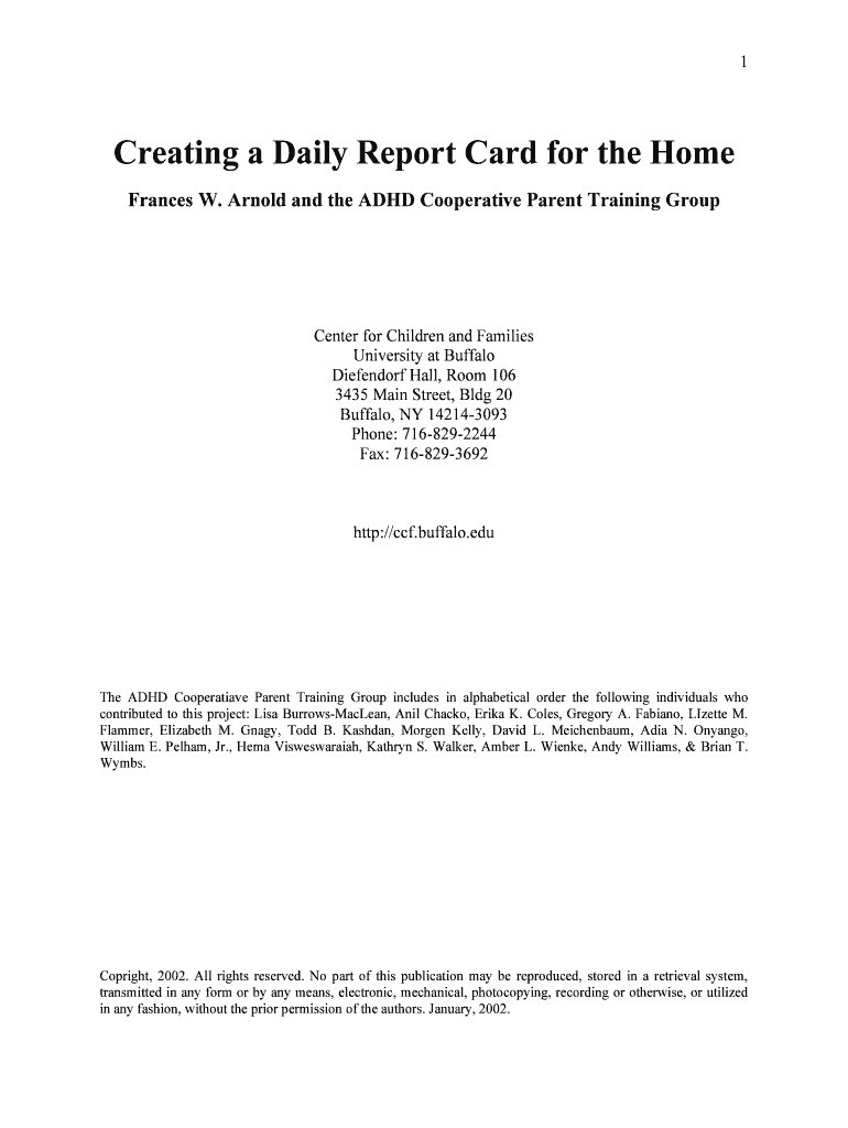 Creating A Daily Report Card For The Home Frances W Fill Online With Regard To Daily Report Card Template For Adhd