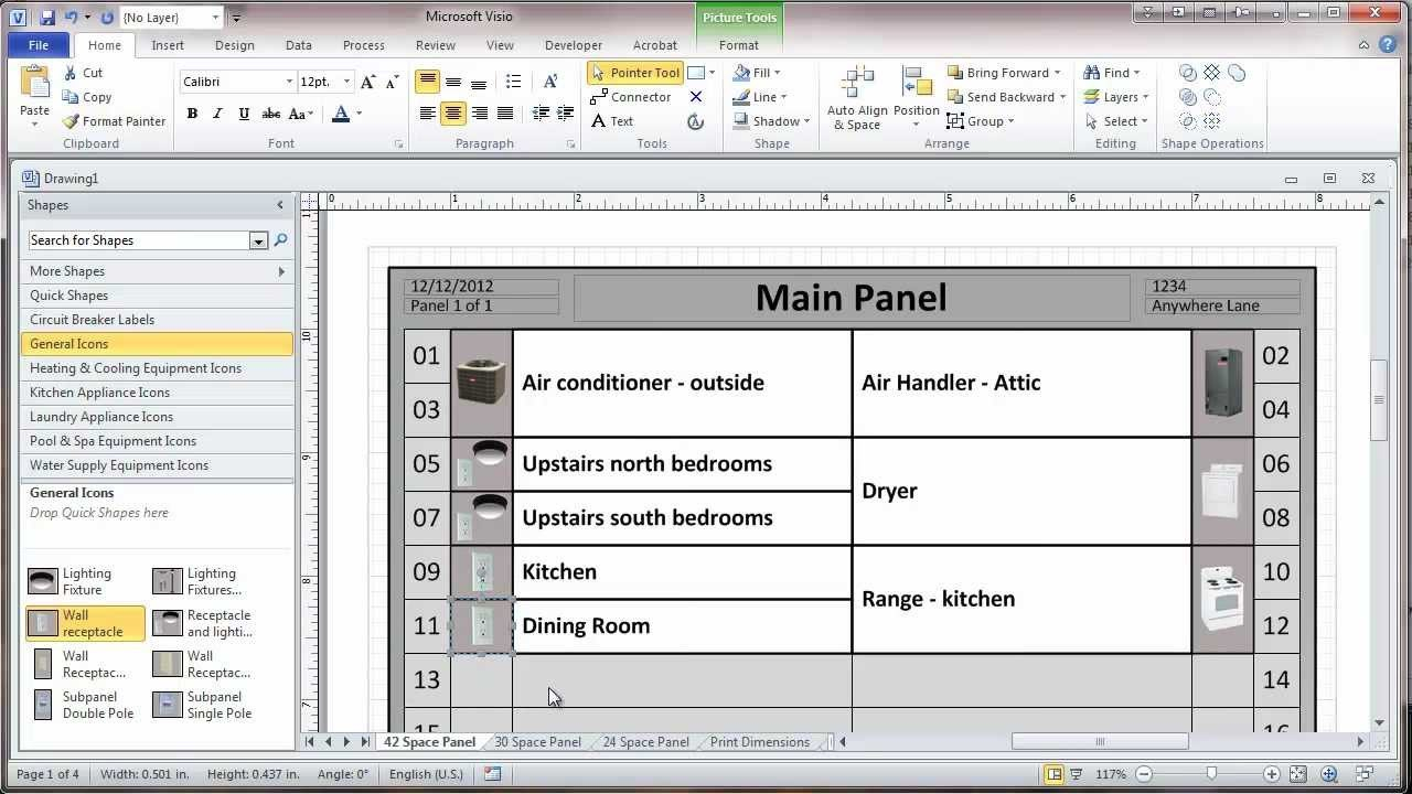 Creating A Residential Electrical Panel Directory In Visio Within Electrical Panel Labels Template