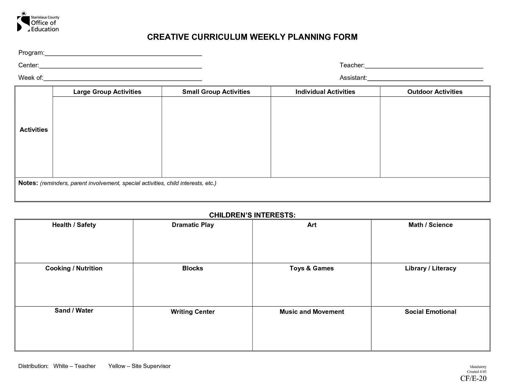 Creative Curriculum Weekly Plan  Documentation Ideas  Creative Throughout Blank Preschool Lesson Plan Template