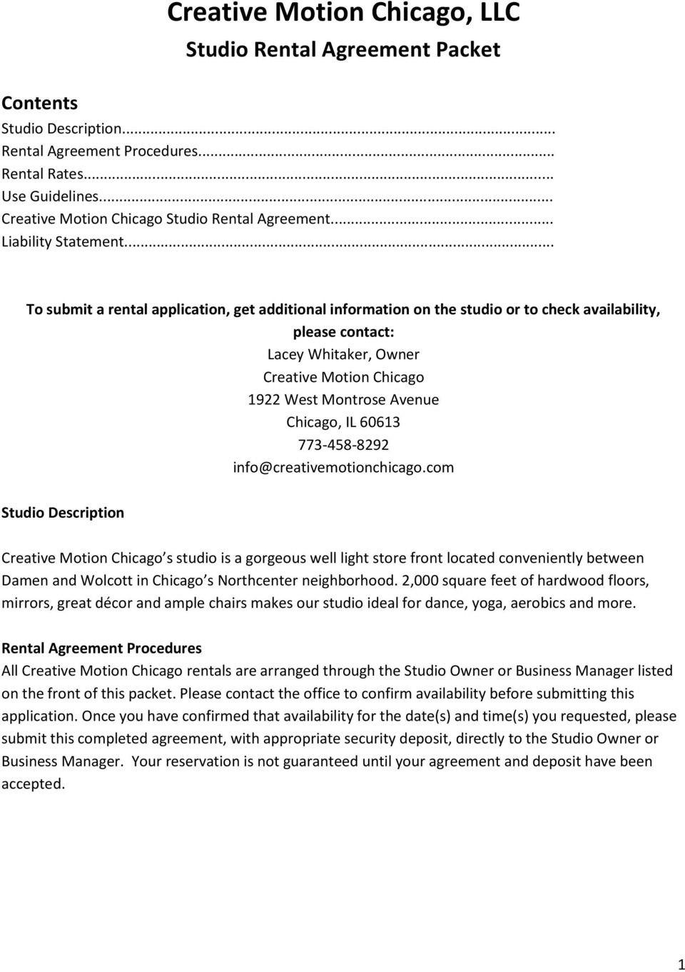 Creative Motion Chicago Llc  Pdf Regarding Dance Studio Rental Agreement Template