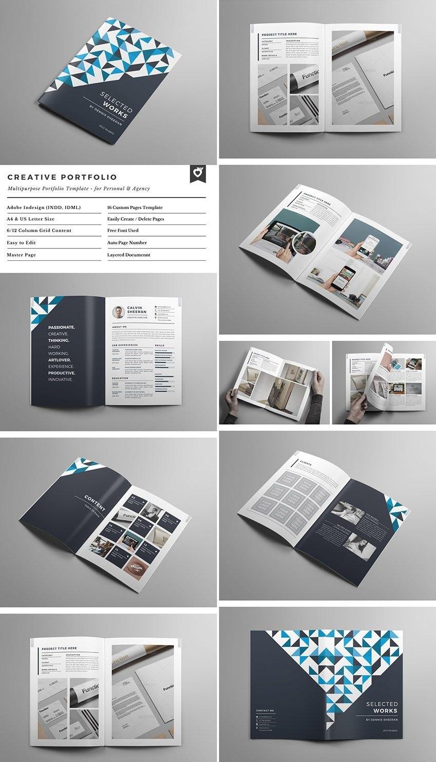 Creative Portfolio Brochure Indd  Resumes And Portfolio  Indesign Within Adobe Indesign Brochure Templates