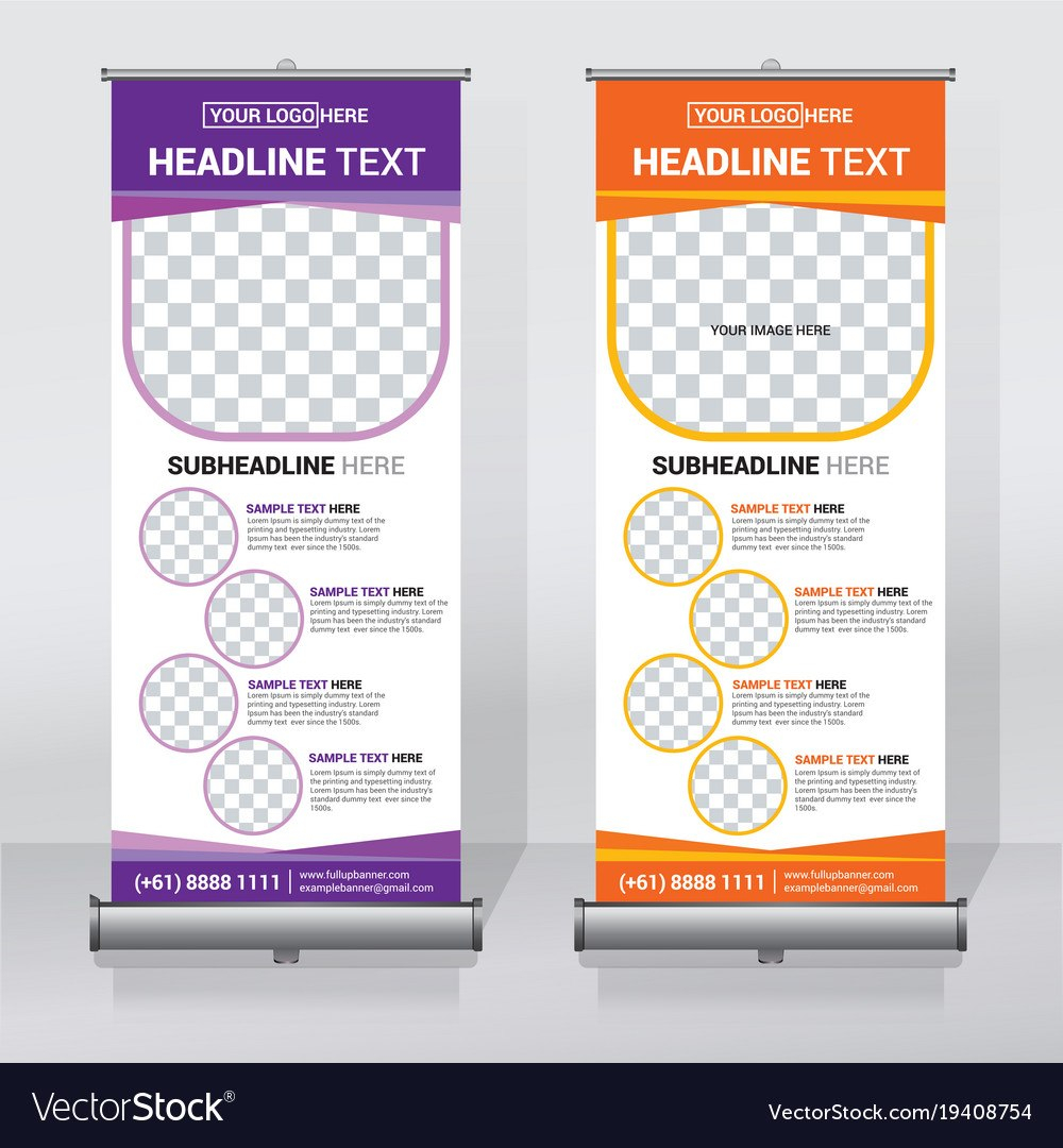 Creative Roll Up Banner Design Template Royalty Free Vector Within Pop Up Banner Design Template