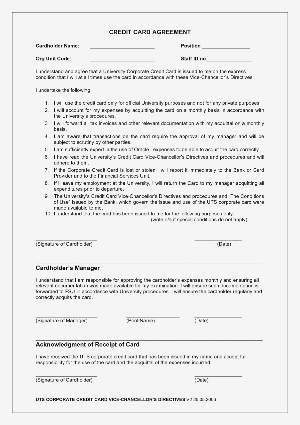 Credit Card Agreement Form Good  Best Of Credit Card Payment With Regard To Corporate Credit Card Agreement Template