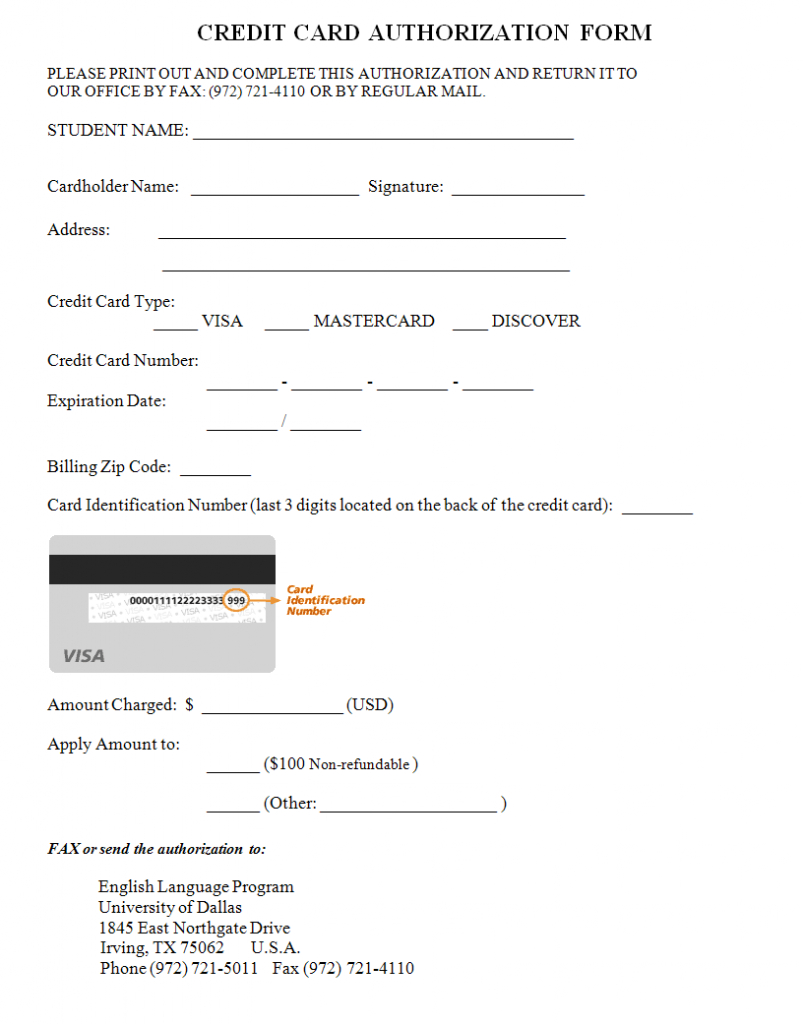 Credit Card Authorization Form Template  Credit Card Authorization For Hotel Credit Card Authorization Form Template