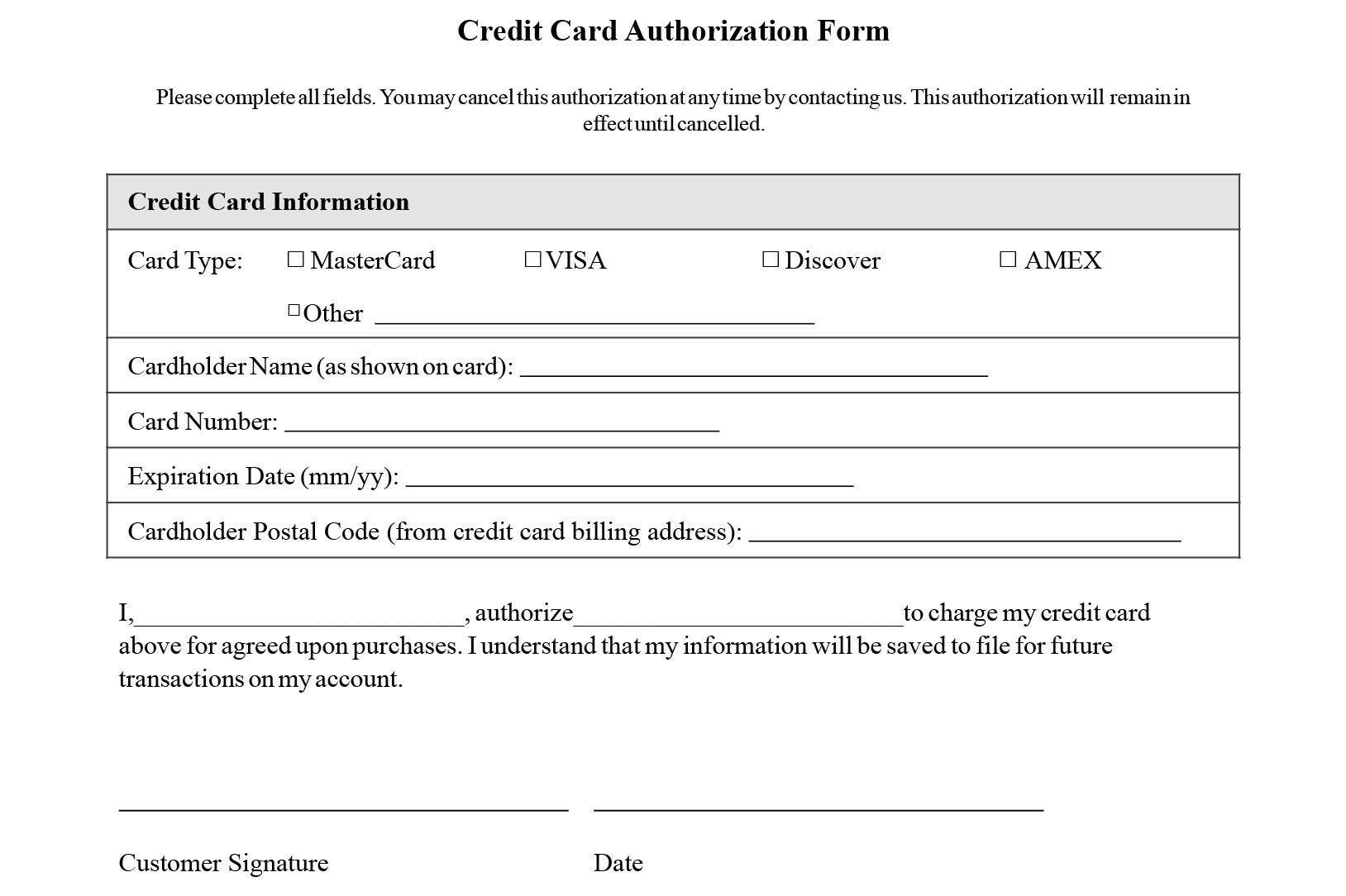 Credit Card Authorization Form Templates Download Regarding Credit Card On File Form Templates