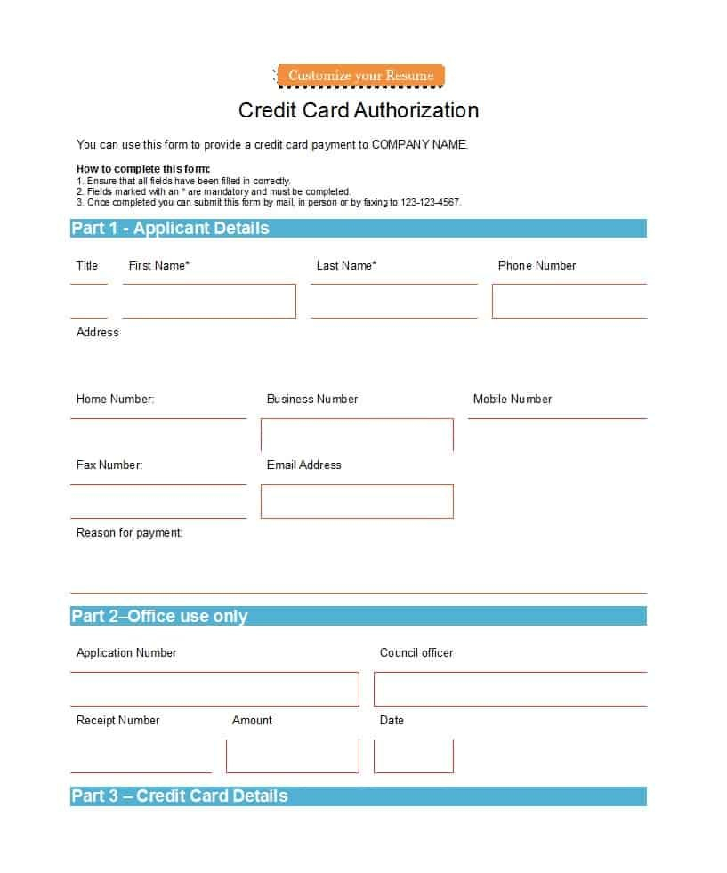 Credit Card Authorization Forms Templates Readytouse Pertaining To Credit Card Authorization Form Template Word