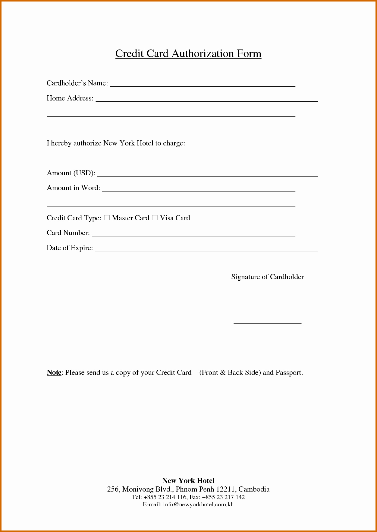 Credit Card Payment Form Template Best Of Printable Intended For Credit Card Authorisation Form Template Australia
