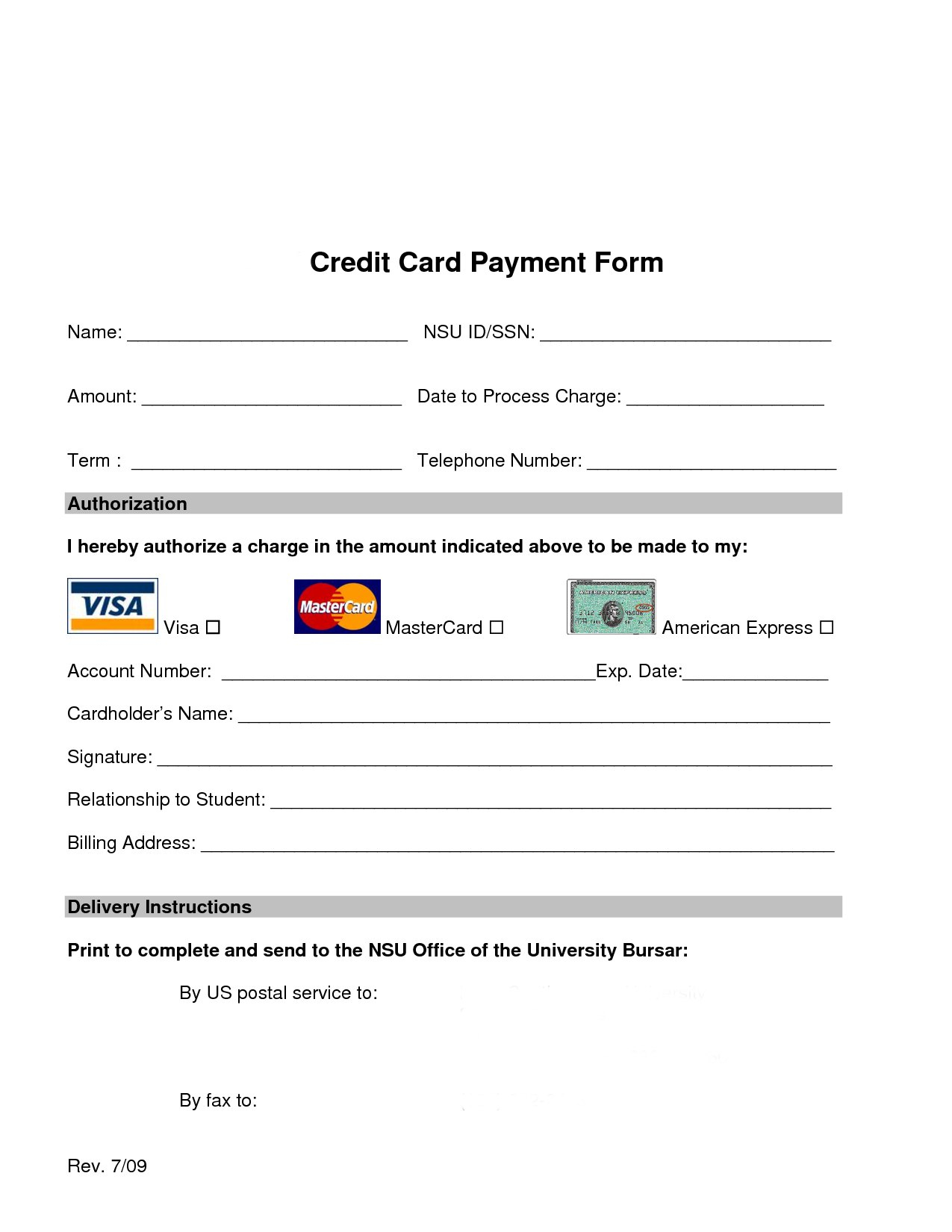 Credit Card Payment Form Template  Charlotte Clergy Coalition In Credit Card Payment Slip Template