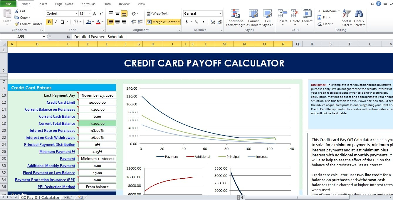 Credit Card Payoff Calculator Excel Template  Excel Tmp Pertaining To Credit Card Interest Calculator Excel Template