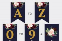 Custom Navy Party Banner Editable Boho Party Pennant  Etsy for Bridal Shower Banner Template