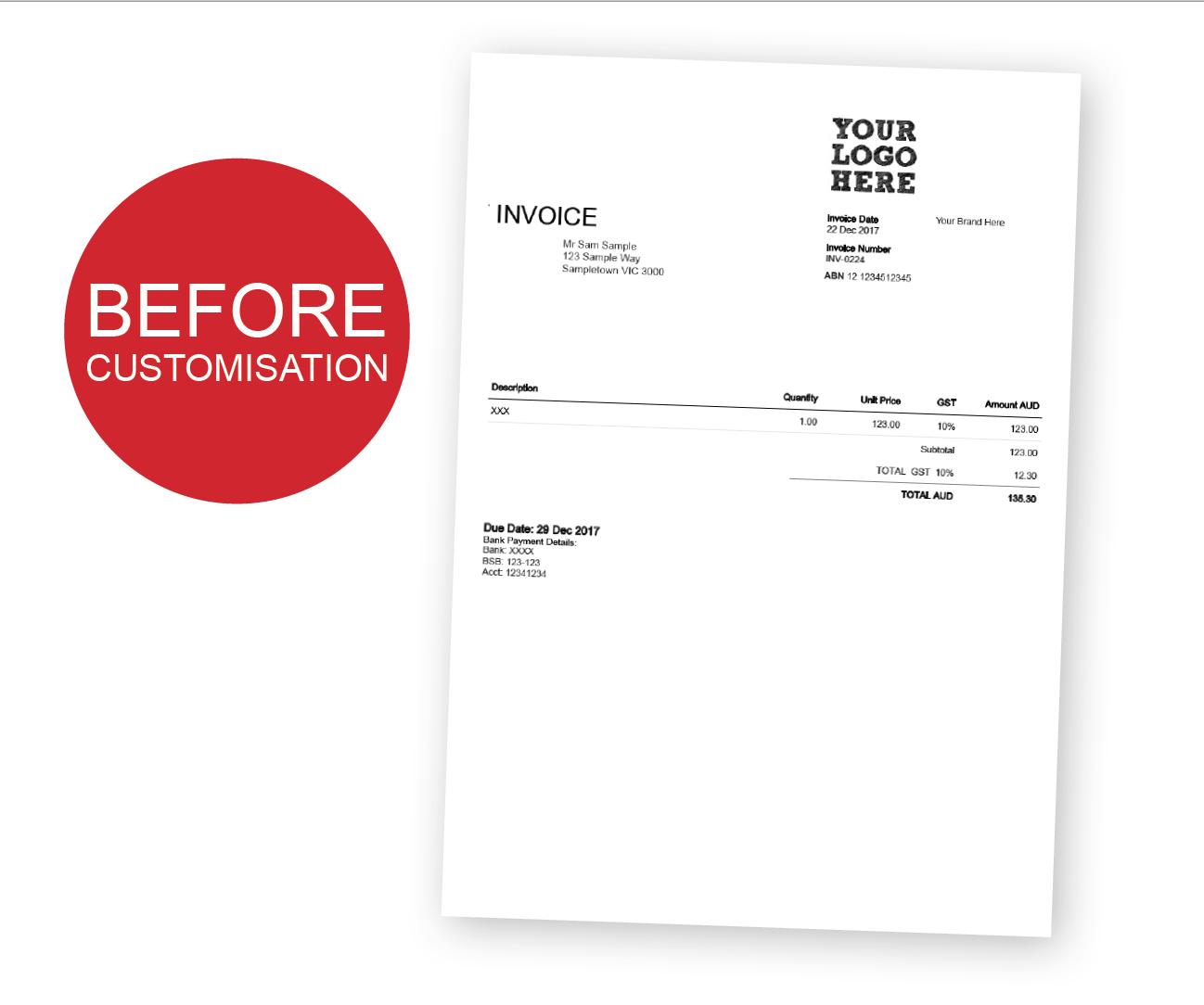 Custom Xero Templates Designed For Business  Docx Branding Themes Pertaining To Xero Custom Invoice Template