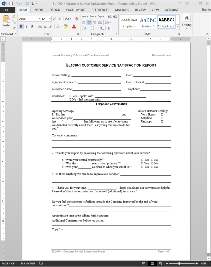 Customer Service Satisfaction Report Template  Sl Regarding Customer Contact Report Template