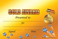 Customised Gold Award Certificate  A  Pupil Rewards within Star Award Certificate Template