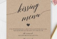 Customizable Kissing Menu Cards Printable Kissing Games Wedding intended for Fun Menu Templates