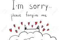 Cute Hand Drawn Cat With Hearts Apologize Card I' M Sorry with Sorry Card Template