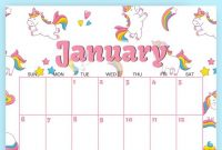 Cute Unicorn   Calendar  Free Printable  Planners  Free with Blank Calendar Template For Kids