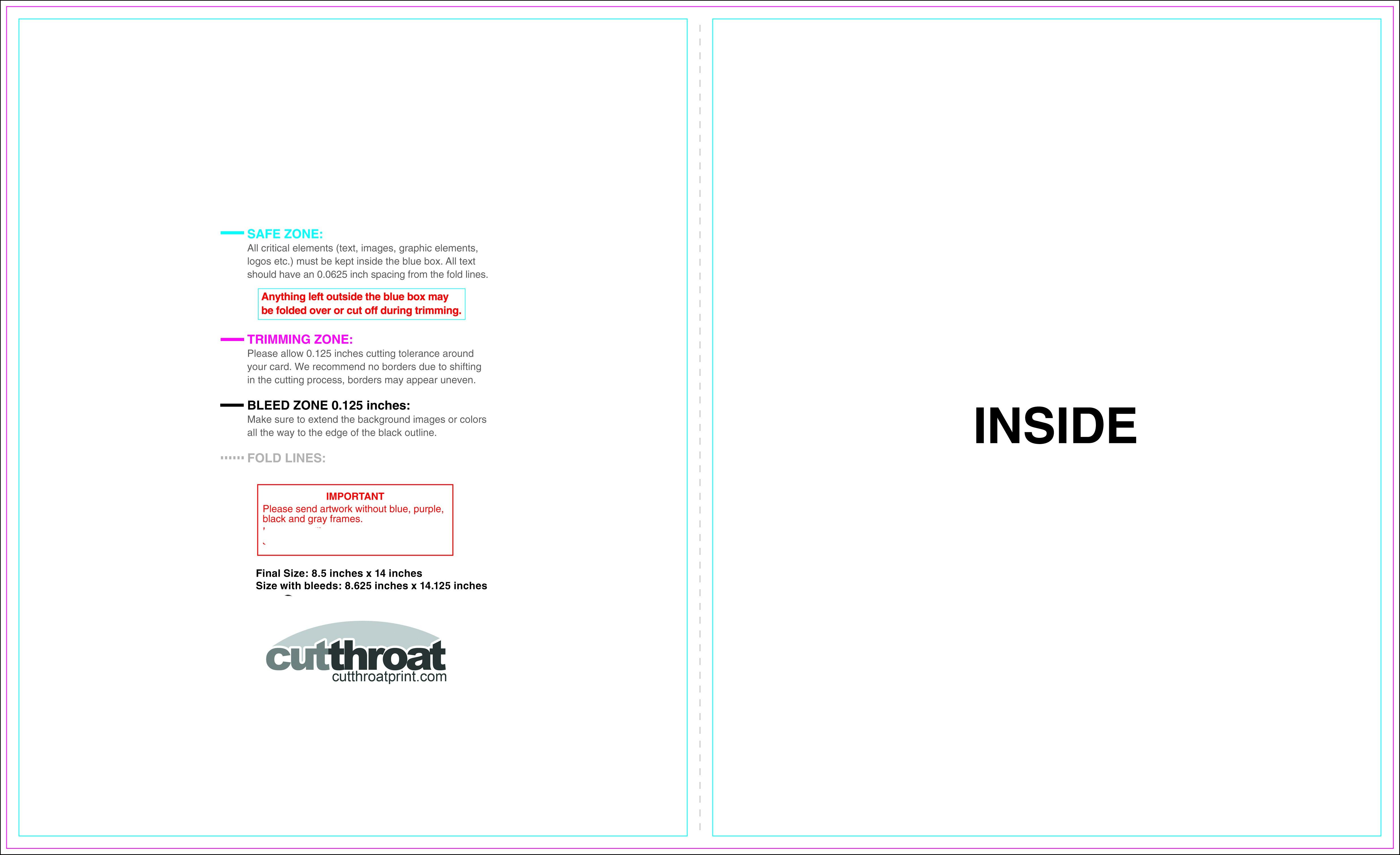 Cutthroat Printcustom Brochure Printing For Half Fold Menu Template