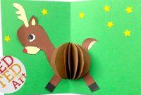 D Christmas Card Diy  Easy Rudolph Pop Up Card  Templates  Paper throughout Diy Christmas Card Templates