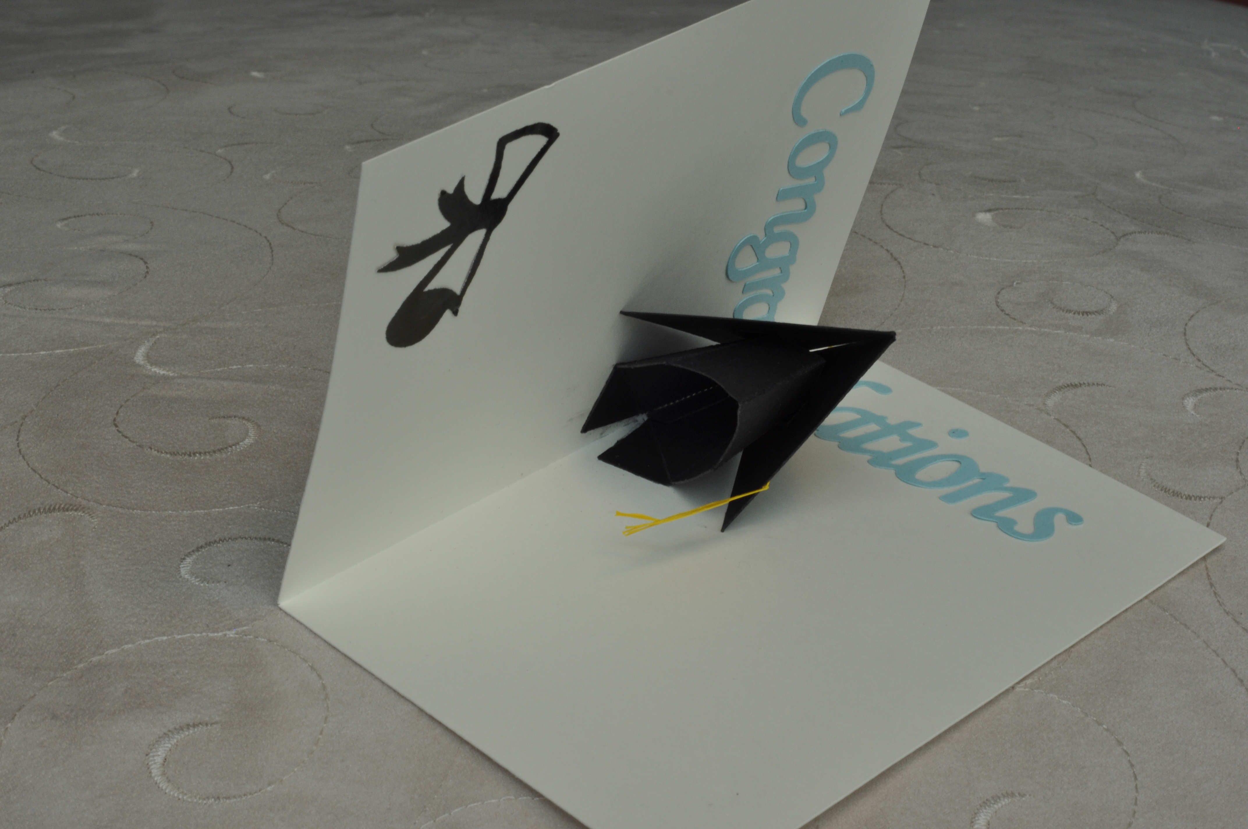 D Graduation Cap Pop Up Card Template  Creative Pop Up Cards In Graduation Pop Up Card Template
