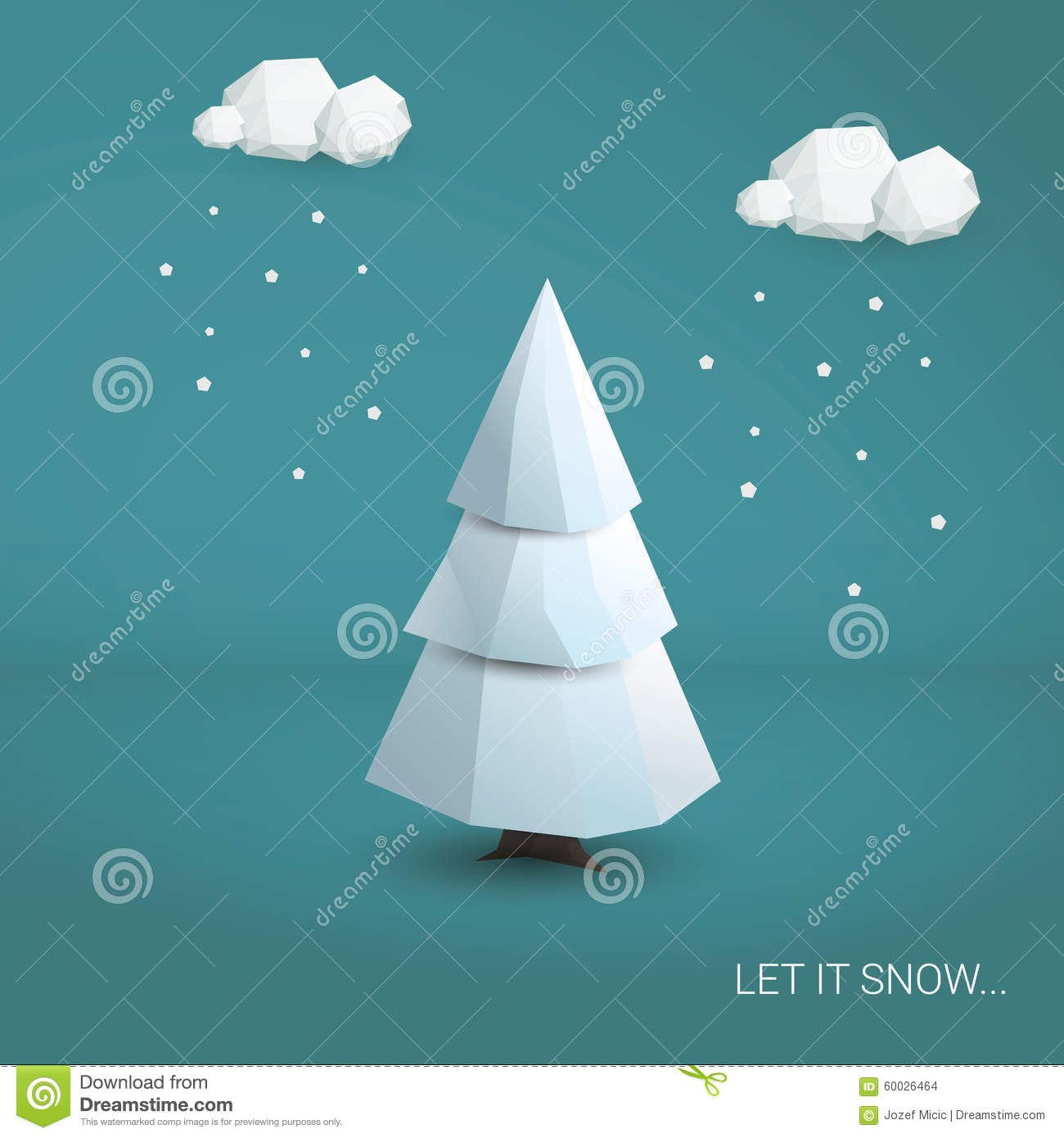D Low Poly Christmas Tree Card Template Stock Illustration Regarding 3D Christmas Tree Card Template