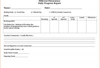 Daily Progress Report Template  Bookletemplate within Daily Behavior Report Template