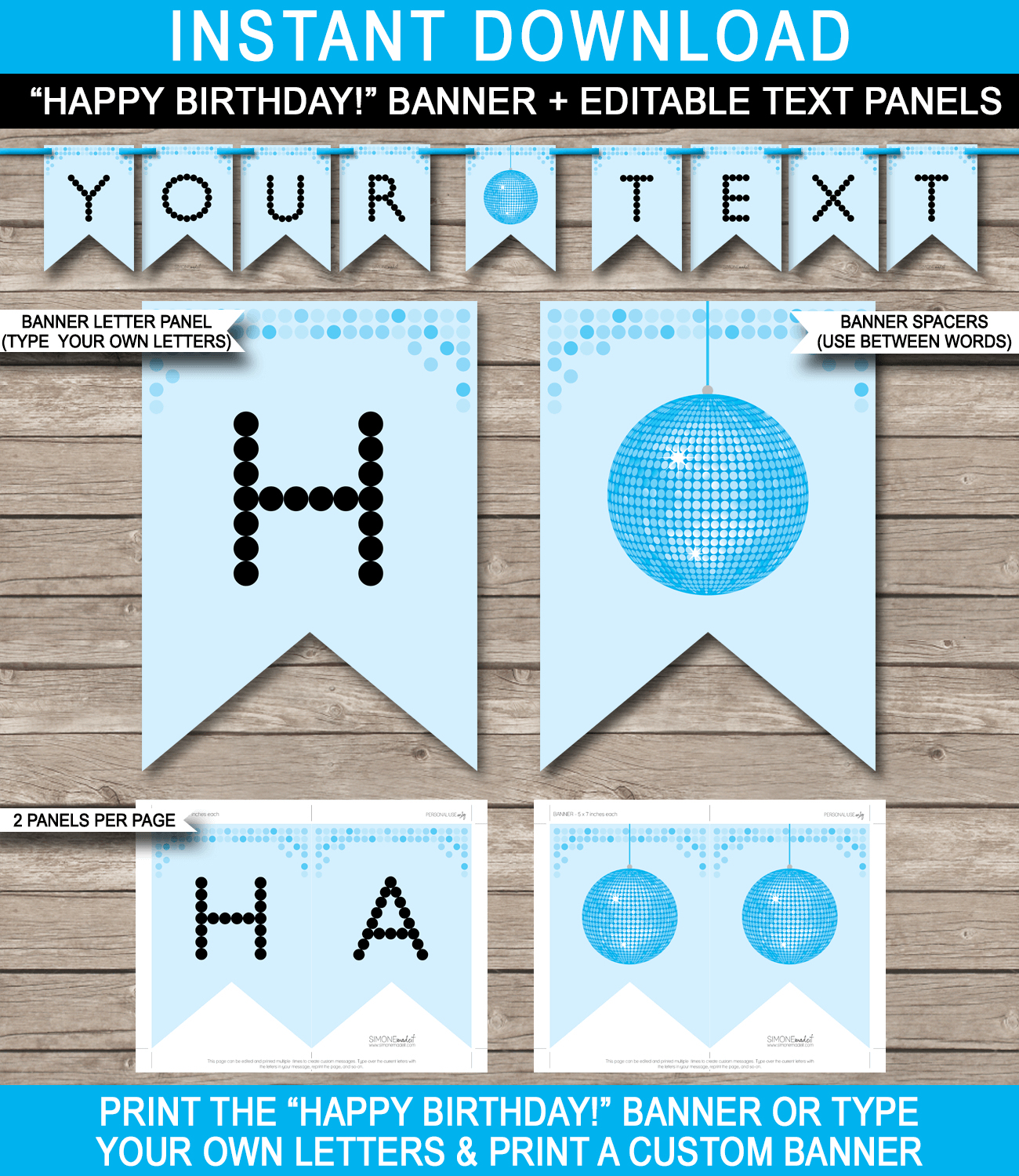 Dance Banner Template  Blue Disco  Birthday Banner  Editable Bunting Within Free Printable Party Banner Templates