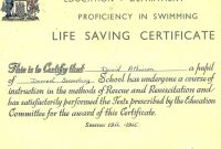 Darroch Secondary School With Life Saving Award Certificate Template