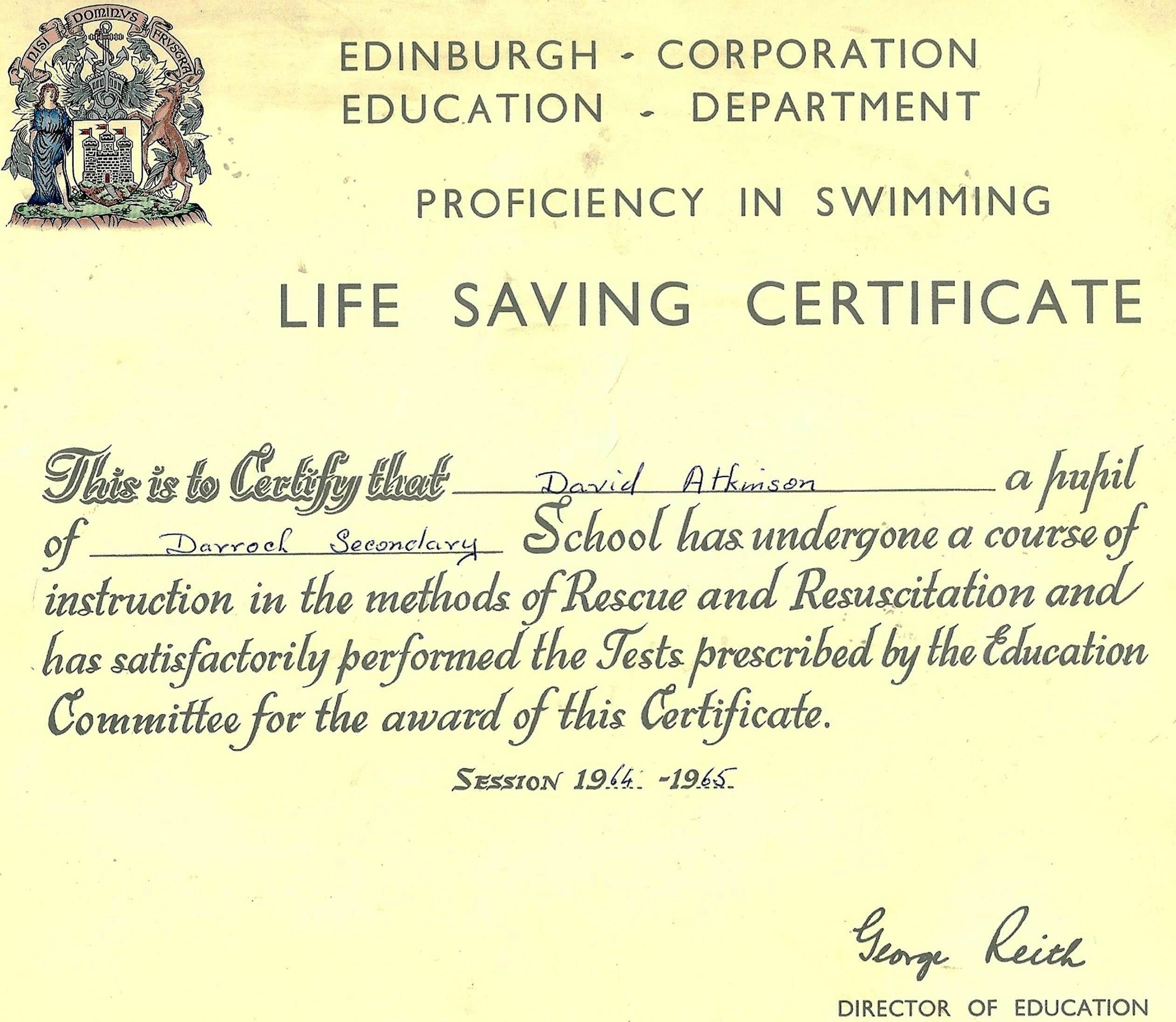 Darroch Secondary School With Life Saving Award Certificate Template