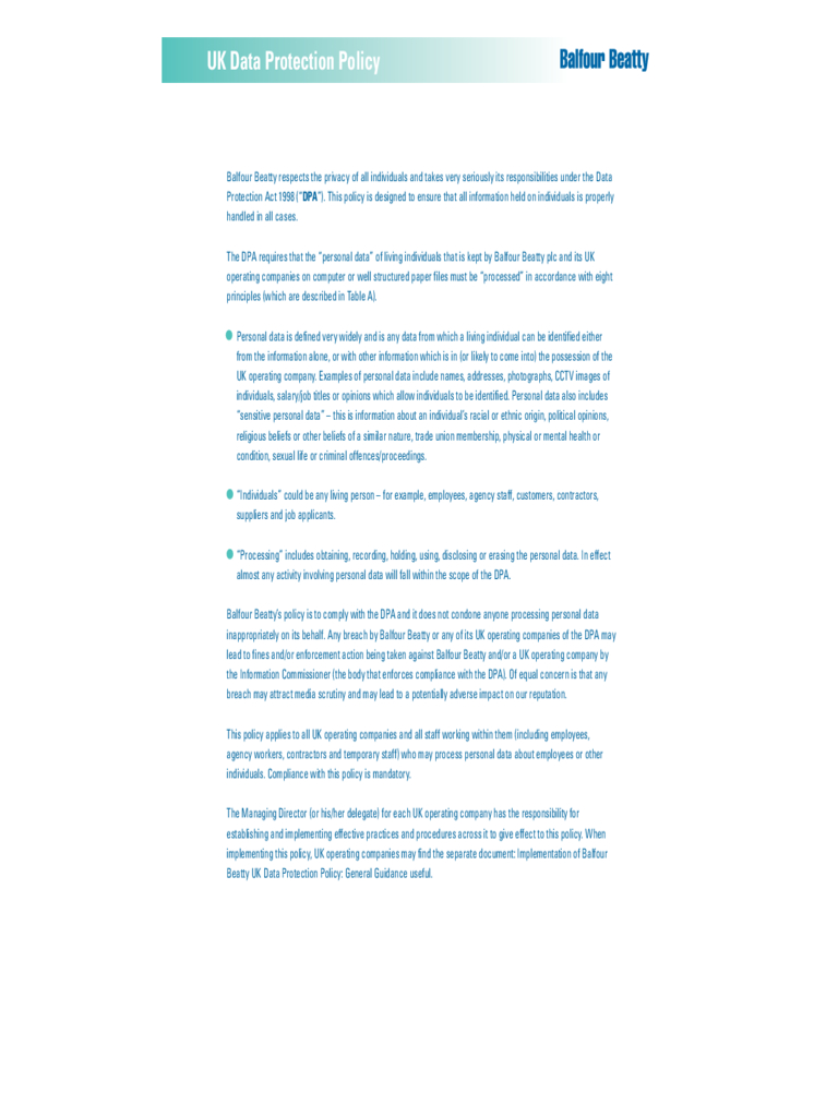 Data Protection Policy Template  Fillable Printable Pdf Regarding Customer Data Privacy Policy Template