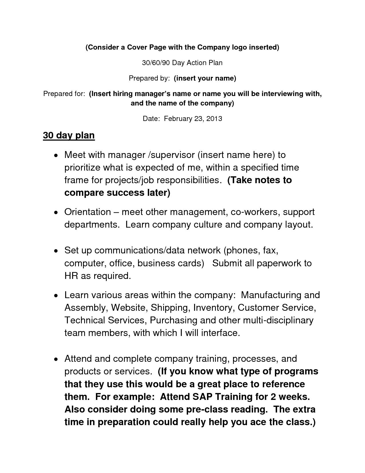 Day Action Plan Template  Job Throughout Customer Service Business Plan Template