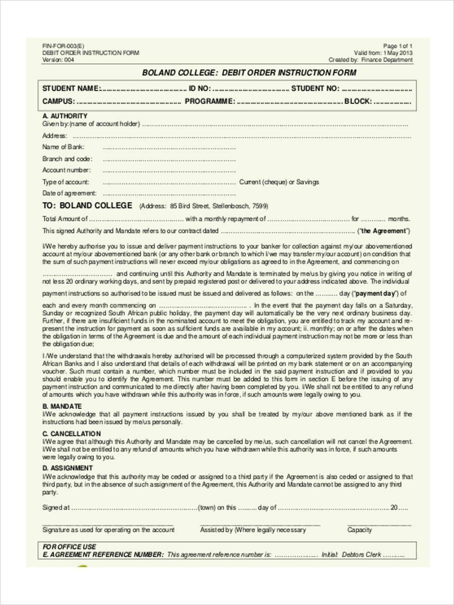 Debit Order Form   Free Documents In Word Pdf In Direct Debit Agreement Template