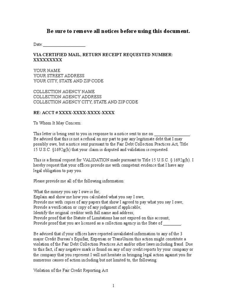 Debt Collection Letter Sample Debt Validation Letter To Collection With Regard To Legal Debt Collection Letter Template