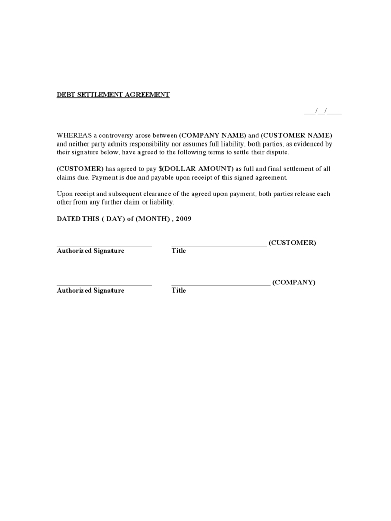 Debt Settlement Agreement Form   Free Templates In Pdf Word Within Debt Agreement Templates