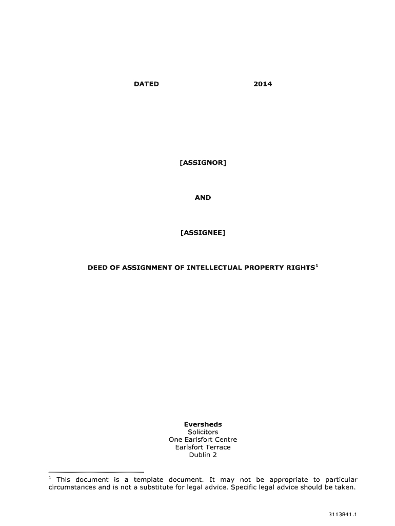 Deed Of Assignment Of Intellectual Property Rights  Fill Online In Intellectual Property Assignment Agreement Template