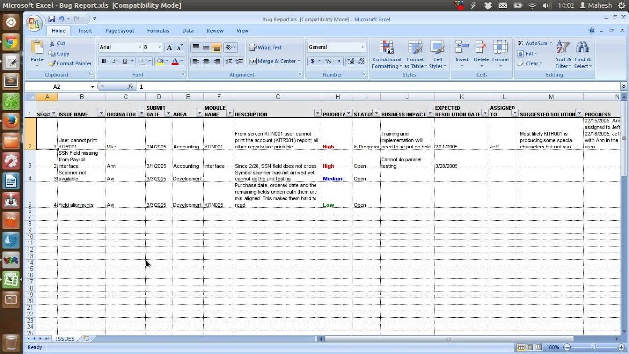 Defect Tracking Template Xls  Youtube Inside Bug Report Template Xls
