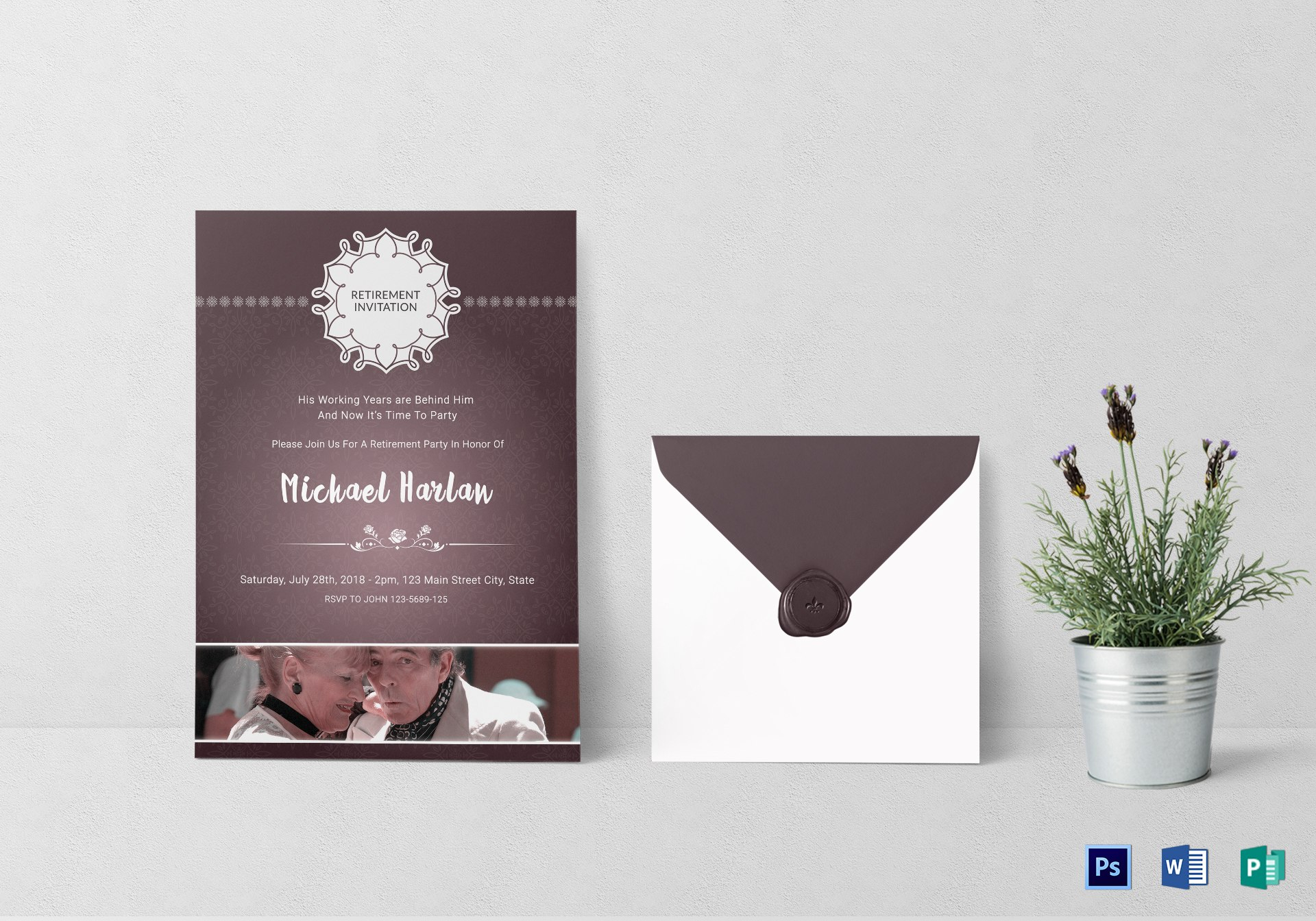 Delighted Retirement Party Invitation Card Design Template In Psd Within Retirement Card Template