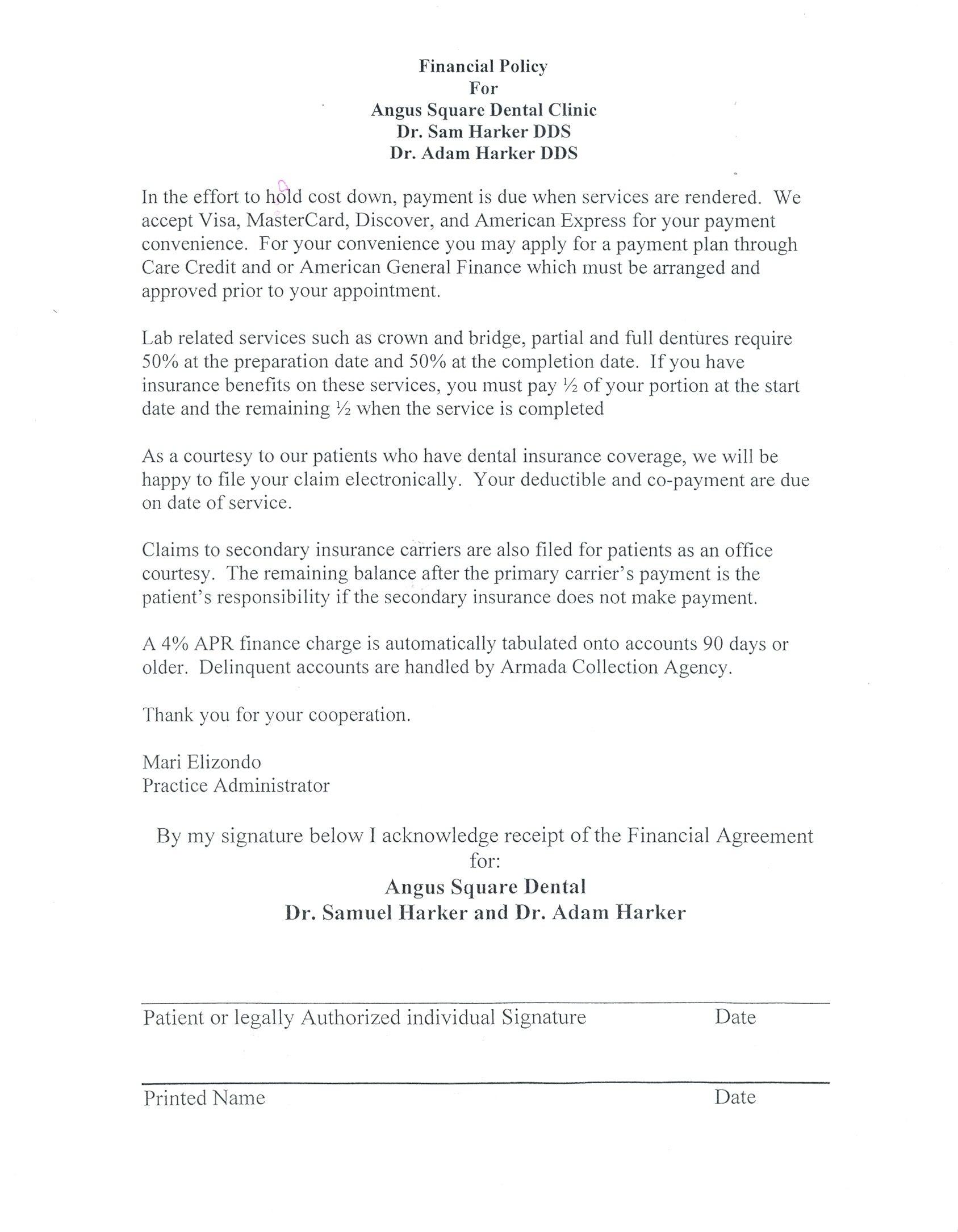 Dental Payment Plan Agreement Template  Logo Contract Agreement Regarding Financial Payment Plan Agreement Template