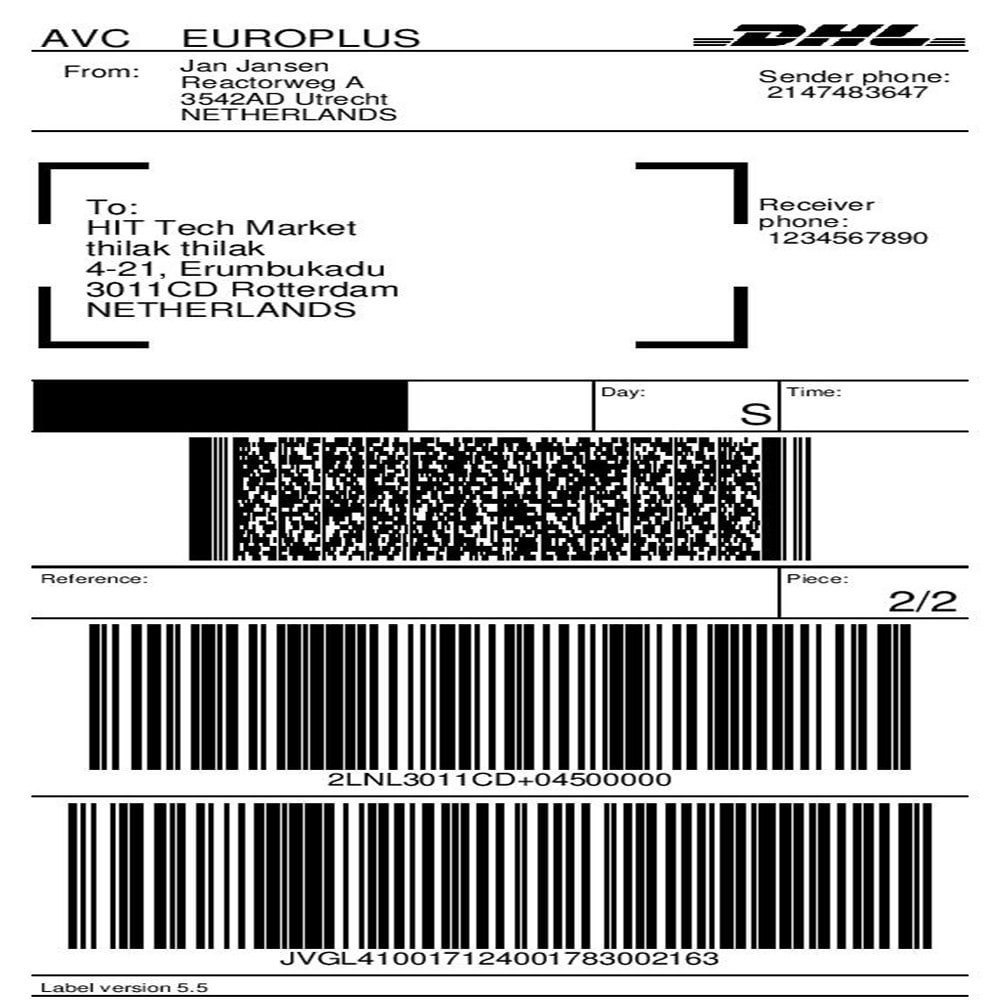 Dhl Parcel Shipping With Print Label  Prestashop Addons In International Shipping Label Template