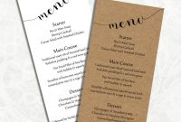 Digital Diy Editable Wedding Menu Template Printable Microsoft with Free Wedding Menu Template For Word