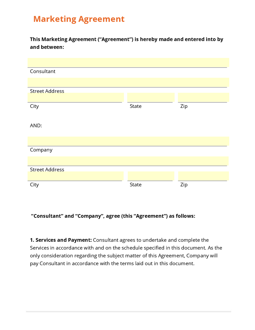 Digital Marketing Agency Agreement Template  Best Agency In The Word With Regard To Free Internet Advertising Contract Template