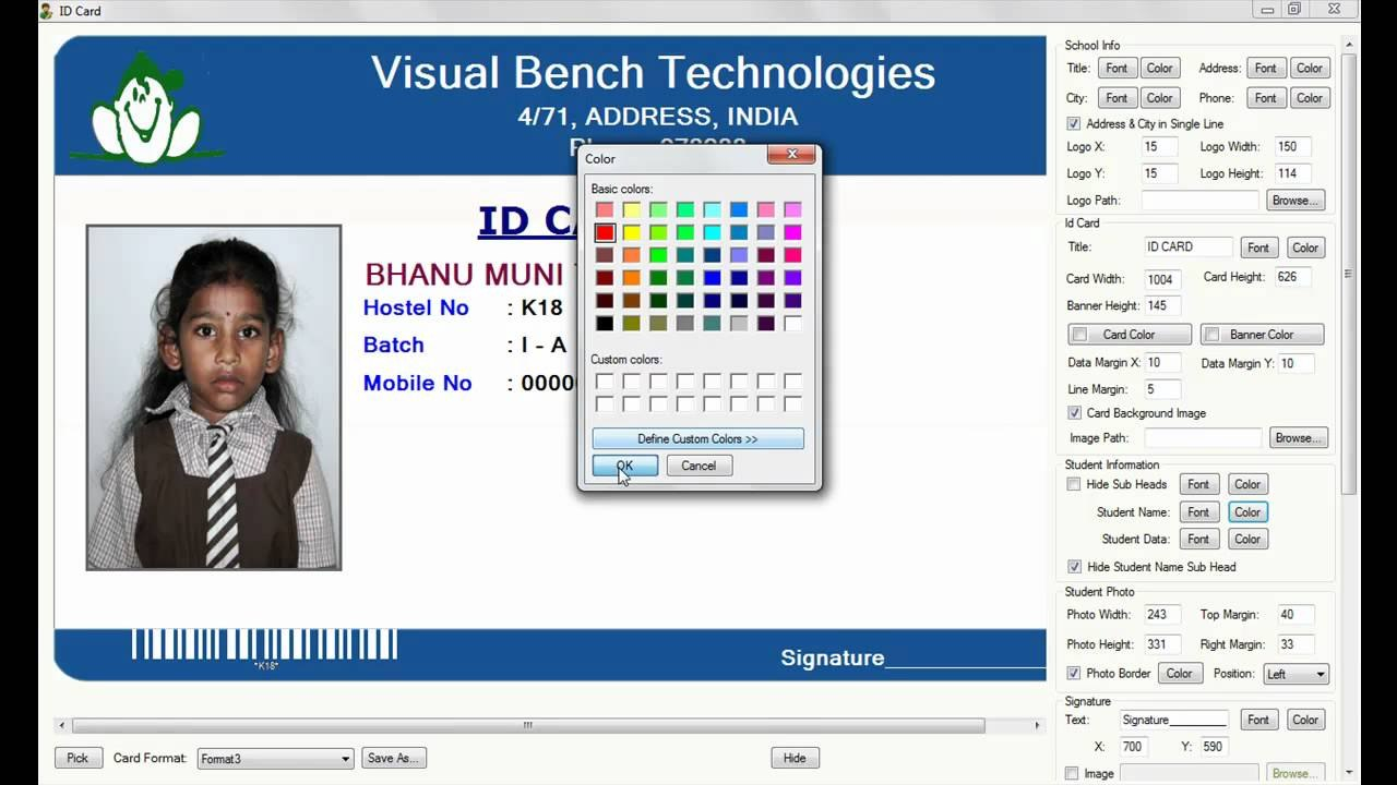 Digital School Id Card Preparation Intended For French Id Card Template