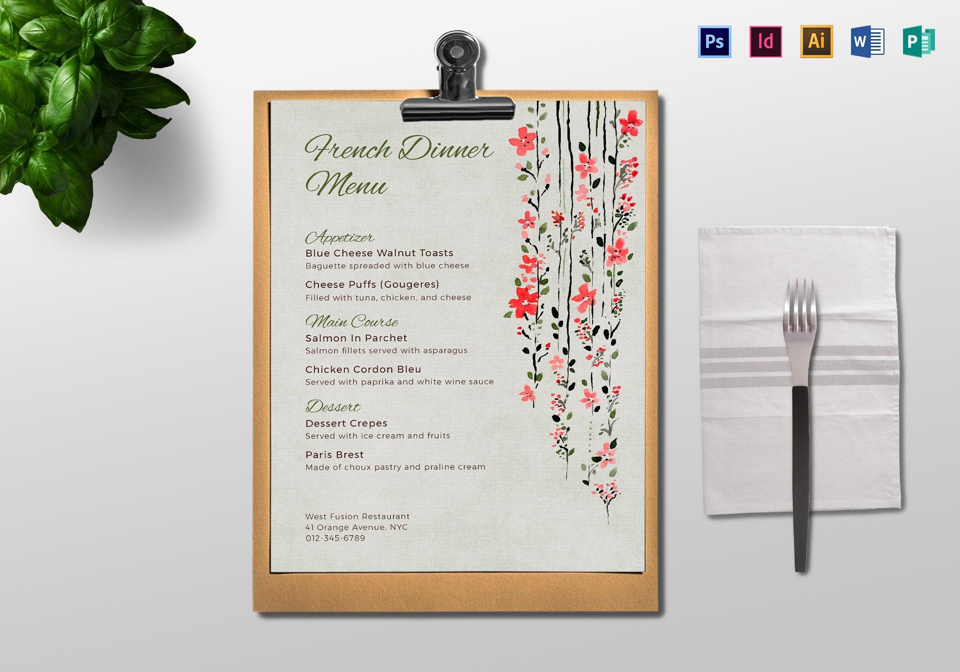 Dinner Menu Template With Regard To Product Menu Template