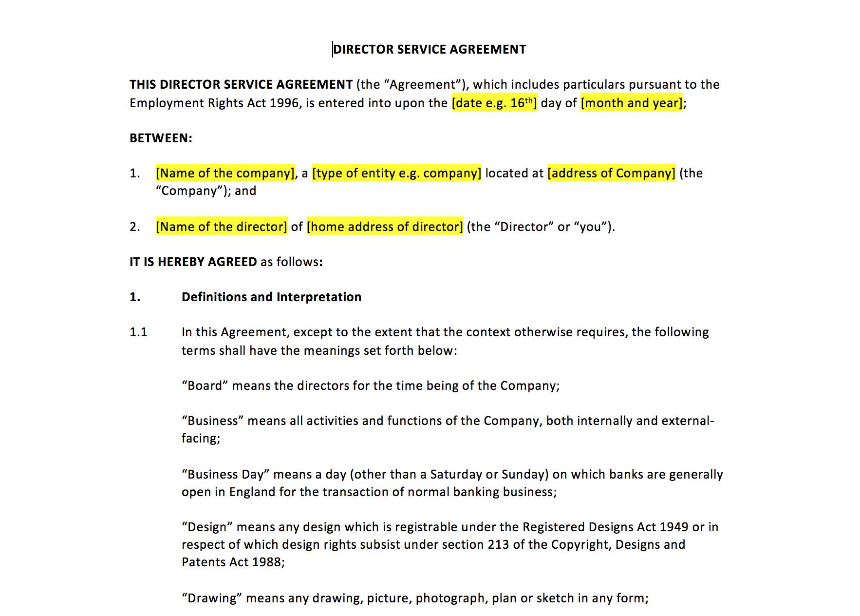 Director Service Agreement Template – Uk Template Agreements And Inside Directors Service Agreement Template