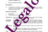 Director's Service Agreement  Legalo United Kingdom in Directors Service Agreement Template