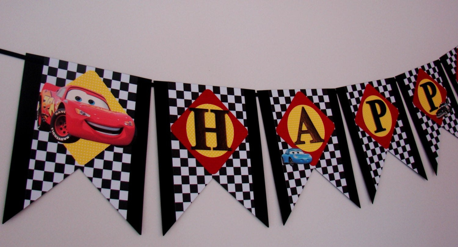 Disney Cars Birthday Banner Cars Birthday Banner Mcqueen  Etsy With Regard To Cars Birthday Banner Template