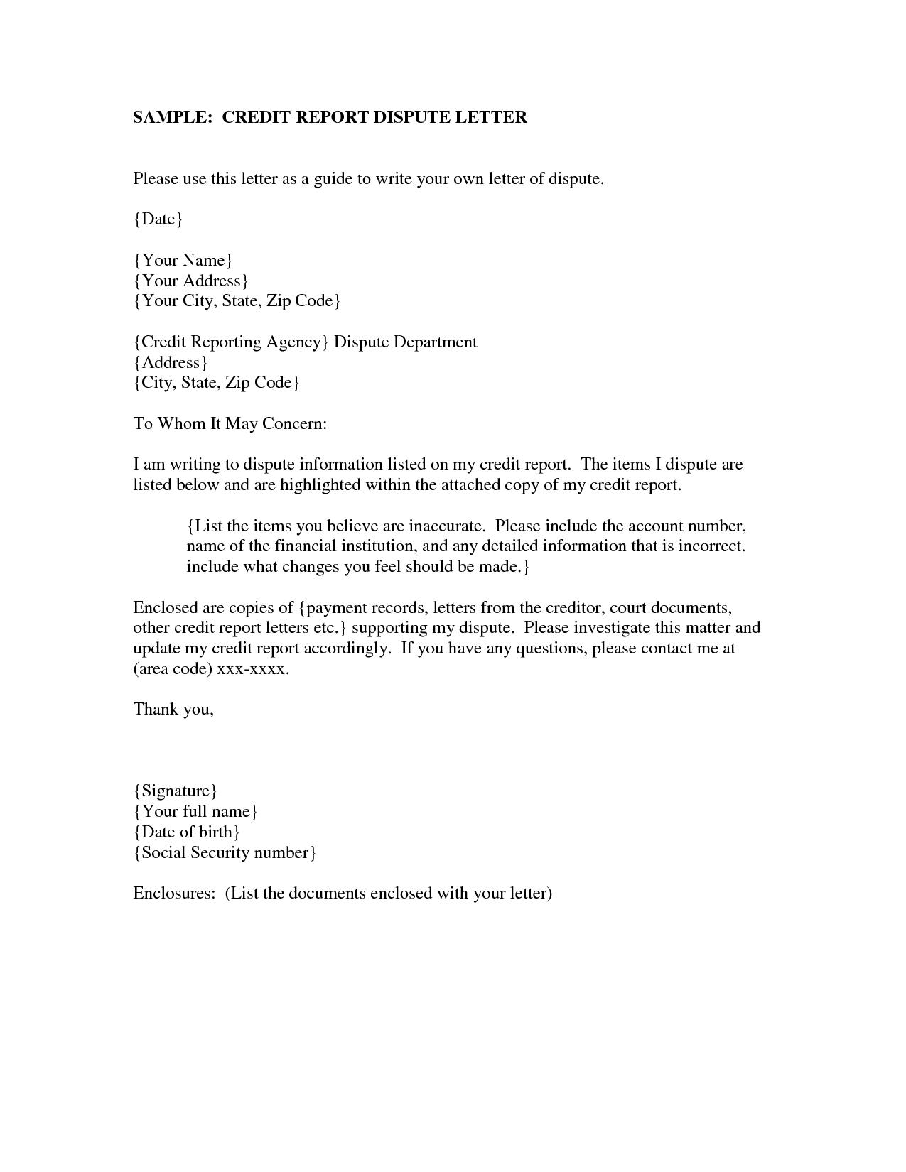 Dispute Credit Letter  Sansurabionetassociats Inside Credit Report Dispute Letter Template