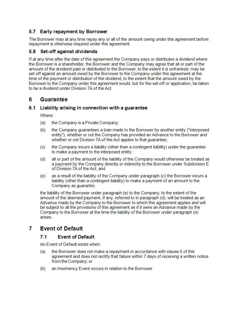 Division A Loan Agreement  Free Sample Online  Precedents Online For Division 7A Loan Agreement Template Free